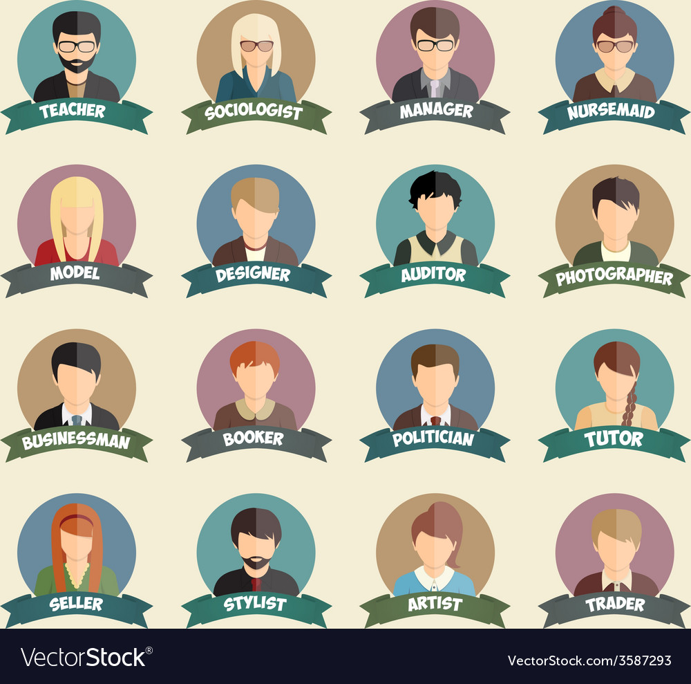 Set of colorful profession people flat style icons