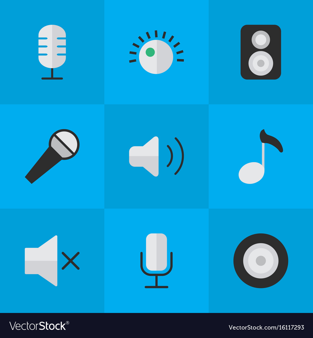 Set of simple music icons vector image