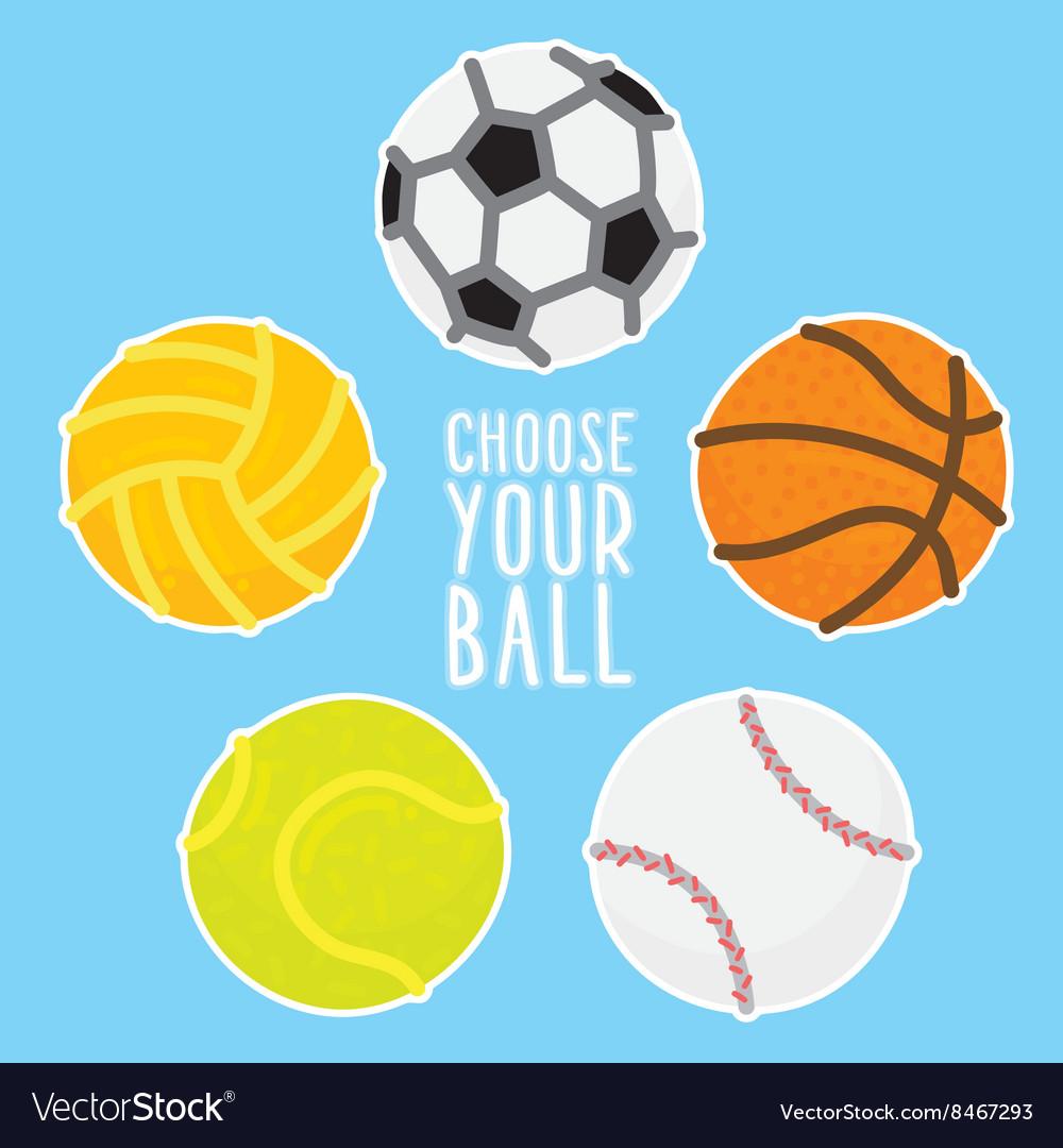 Sport balls set on blue