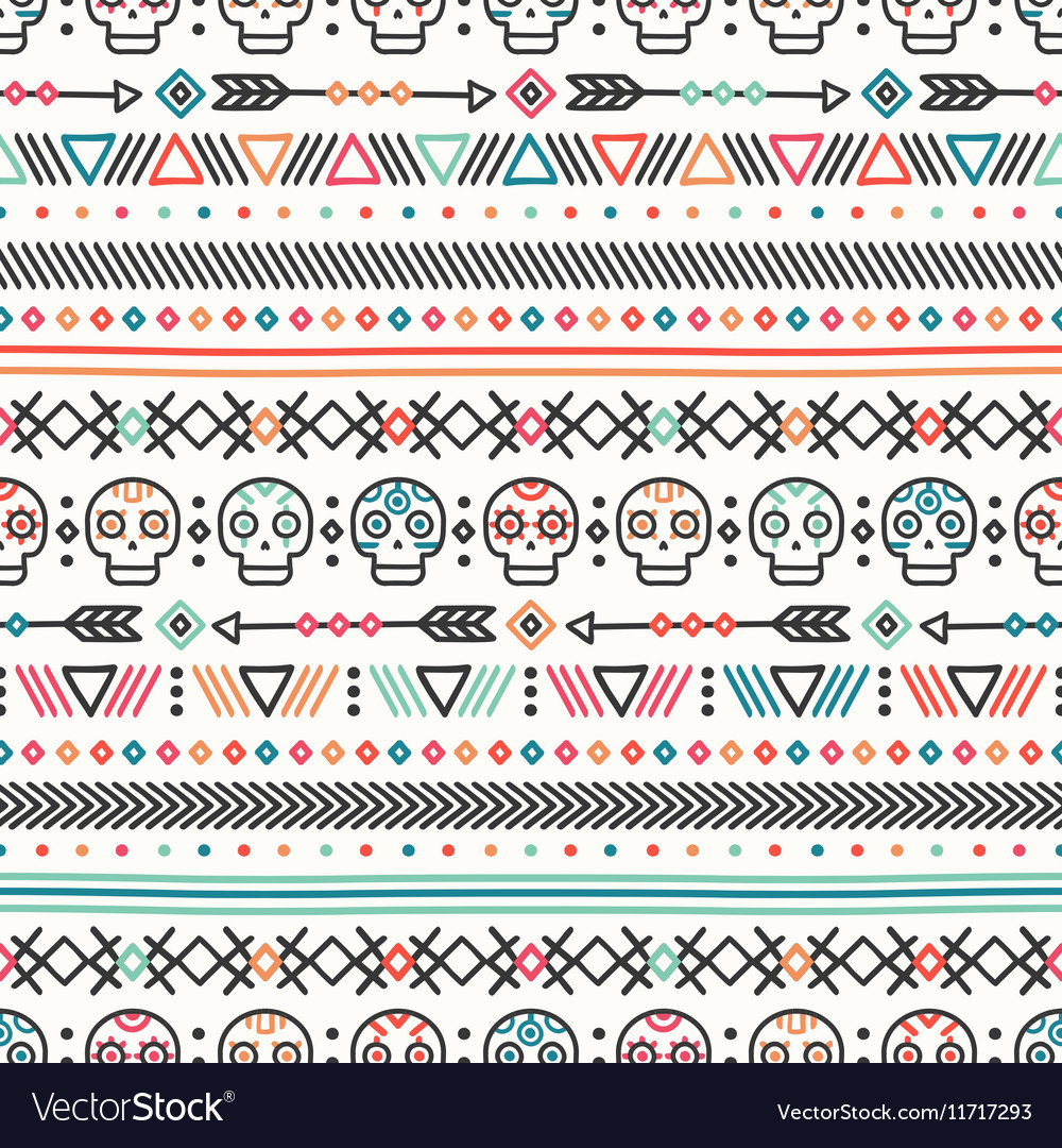 Tribal hand drawn line geometric mexican ethnic
