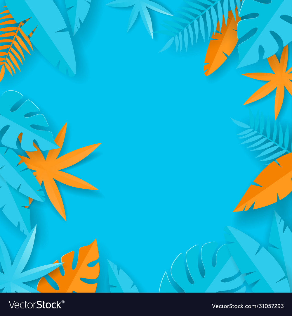 Tropical summer leaves - paper art