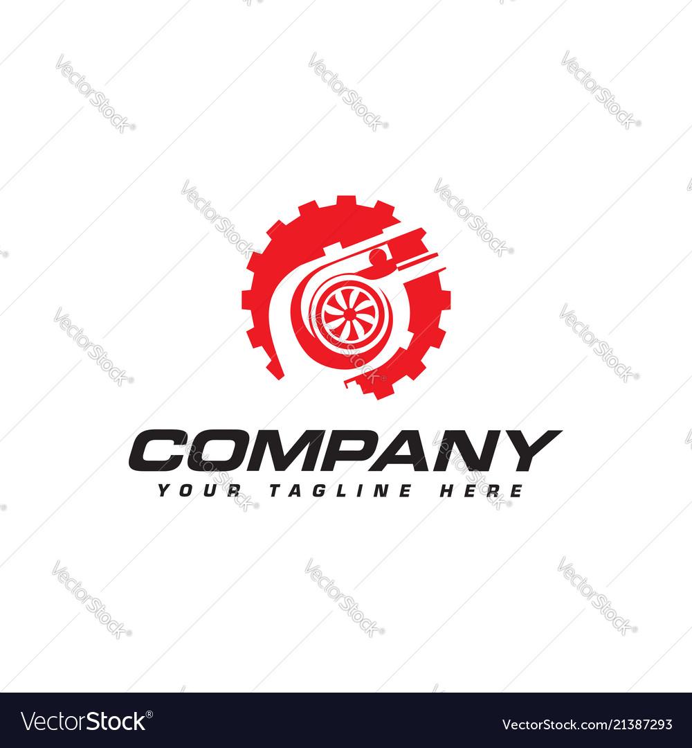 Turbocharger and gear logo automotive performance
