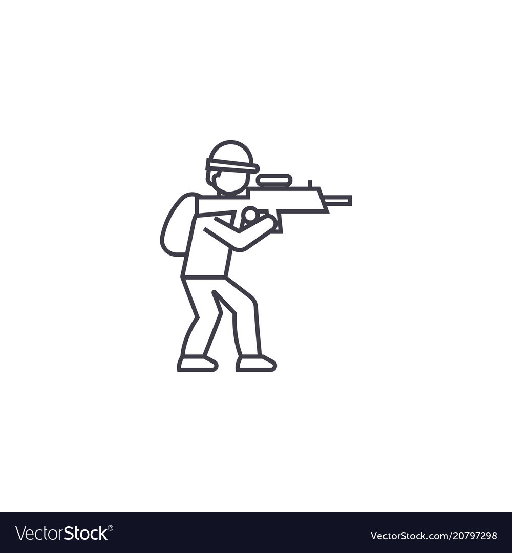 Aiming soldier line icon sign