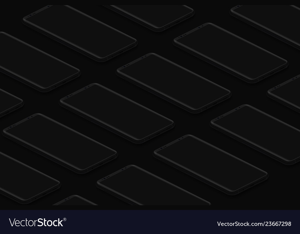 Black isometric realistic smartphones grid dark