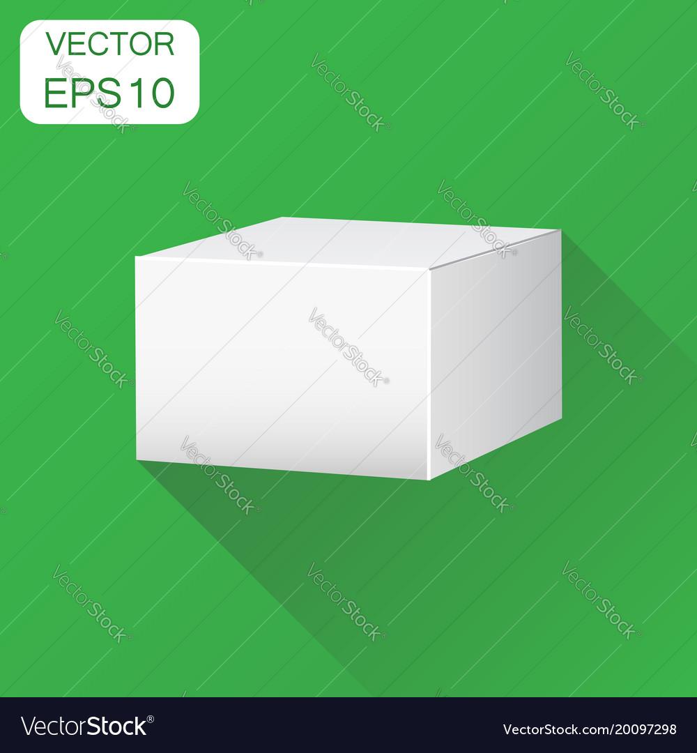 Blank white carton 3d box icon business concept