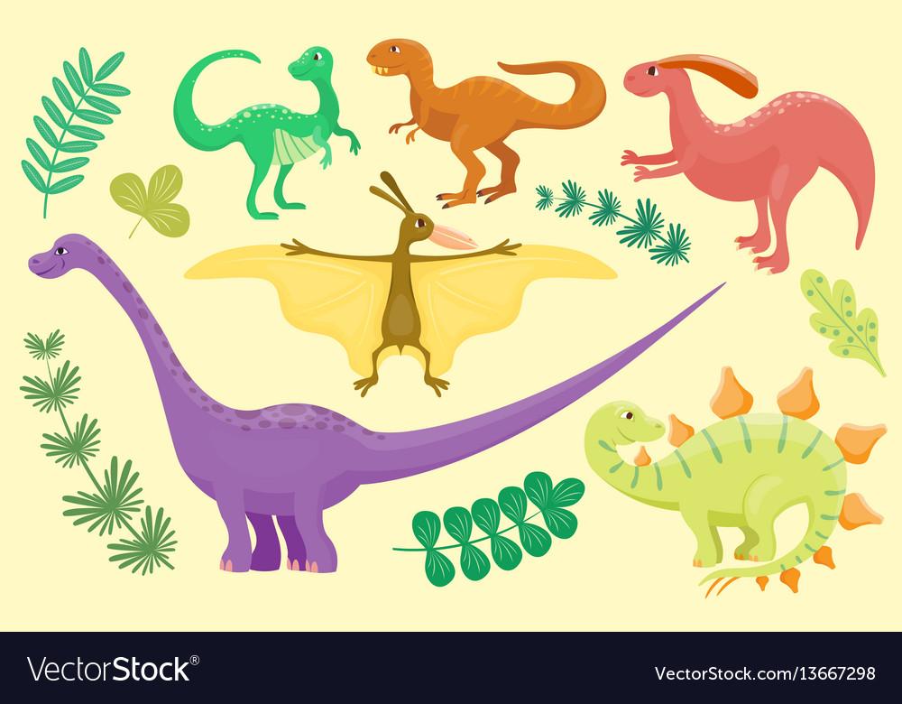 Cartoon dinosaurs isolated
