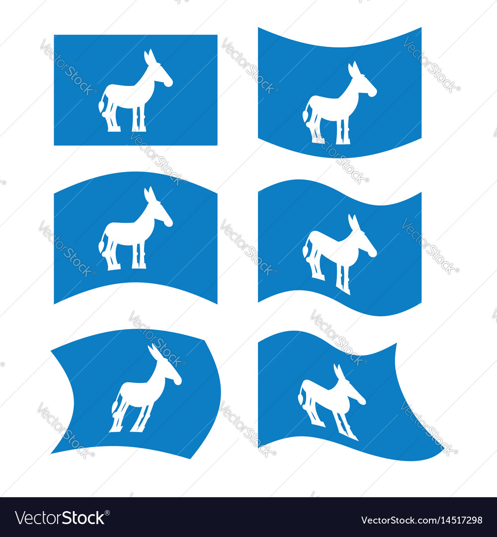 Donkey flag democrat national flag of vector image