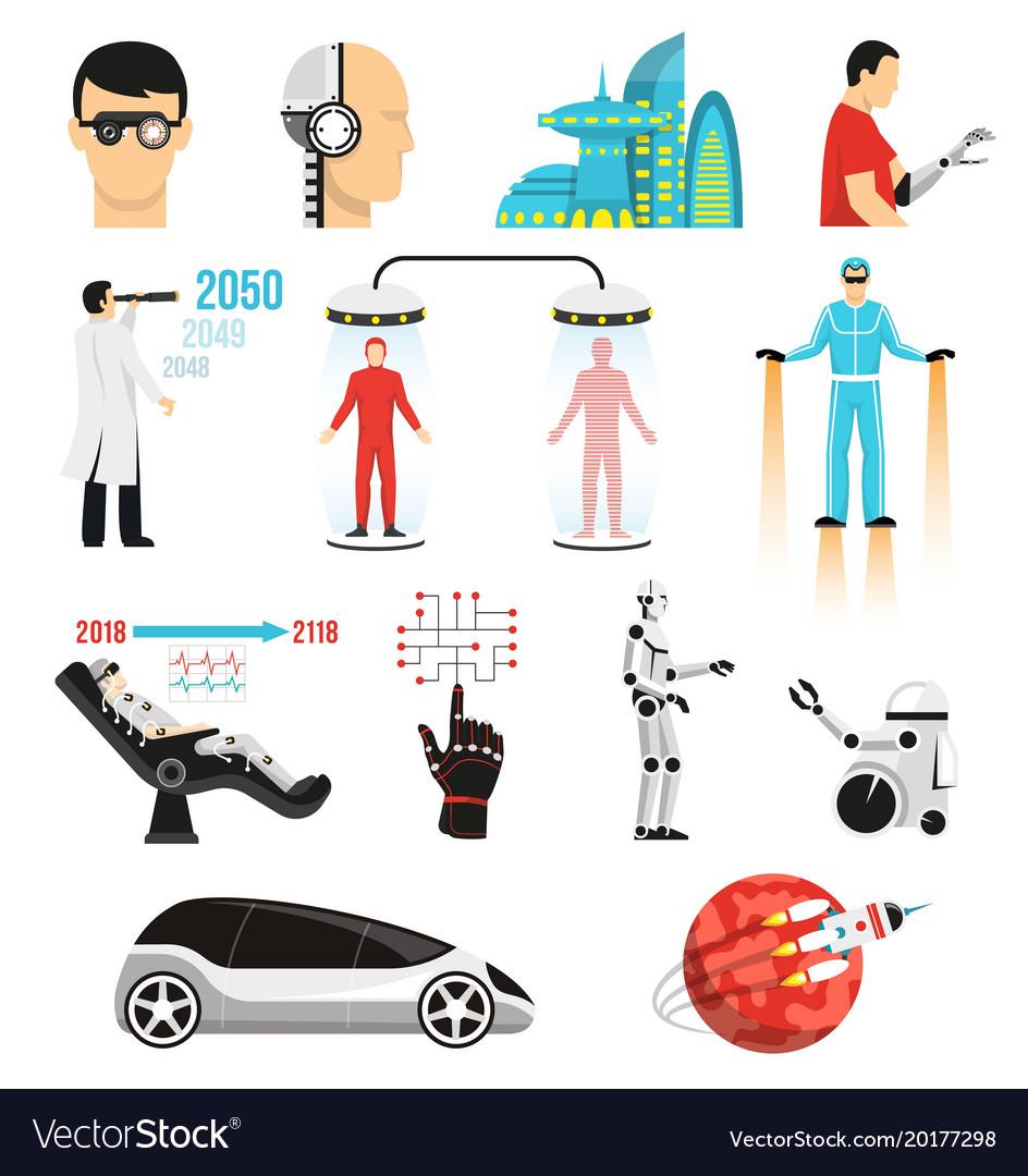 Futurology icons set vector image