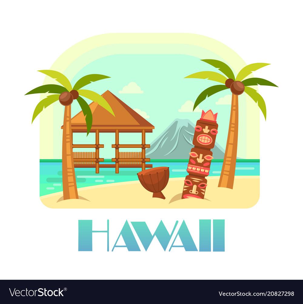Hawaii resort with beach and palms ocean