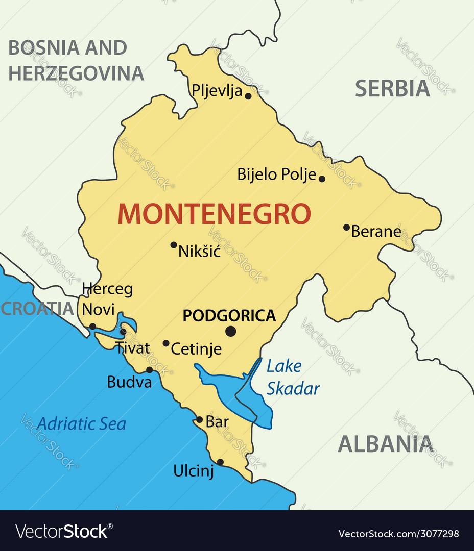 Map Of Montenegro Montenegro   map Royalty Free Vector Image   VectorStock