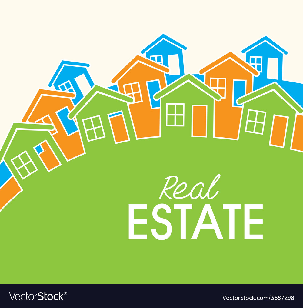 Real estate over white background