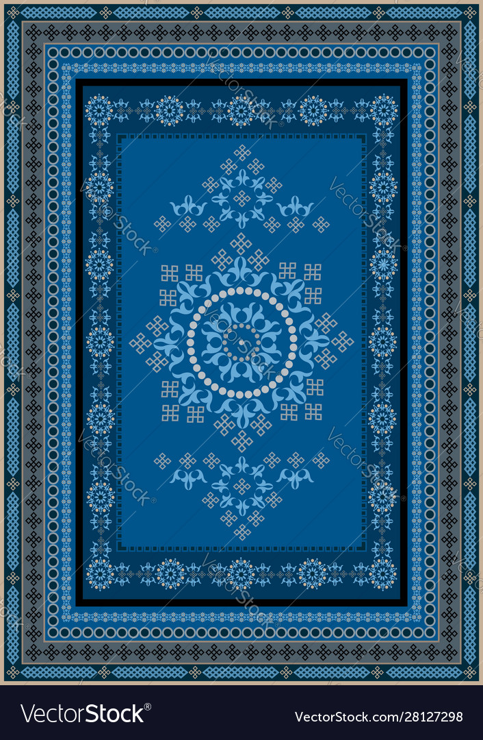Rug With Oriental Design In Blue Gray Shades Vector Image