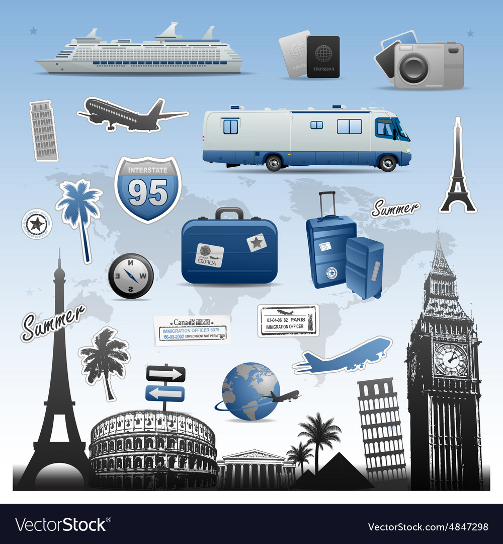 Travel and vacations icons set elements
