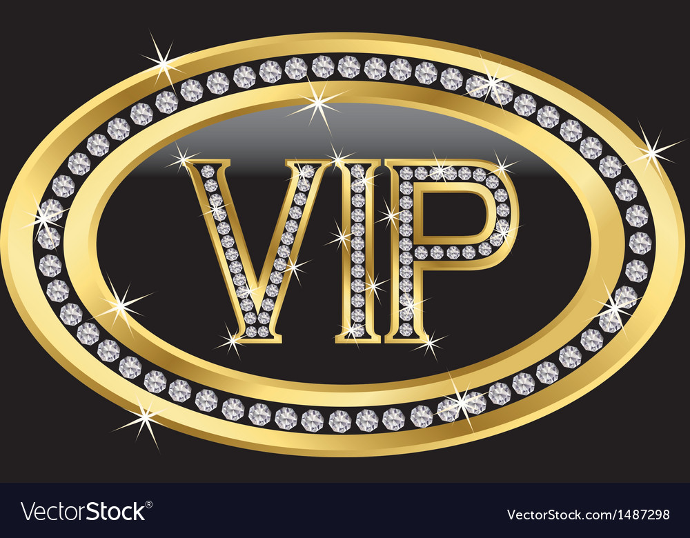 Vip gold label with diamonds Royalty Free Vector Image