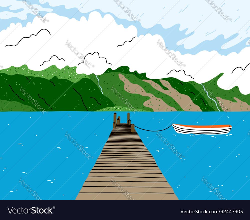 Beautiful lake landscape with wooden bridge boat