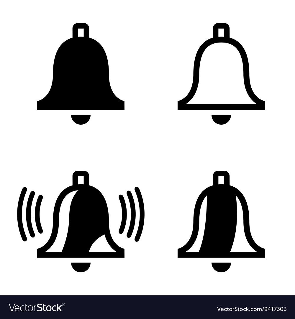 Black bell icons set
