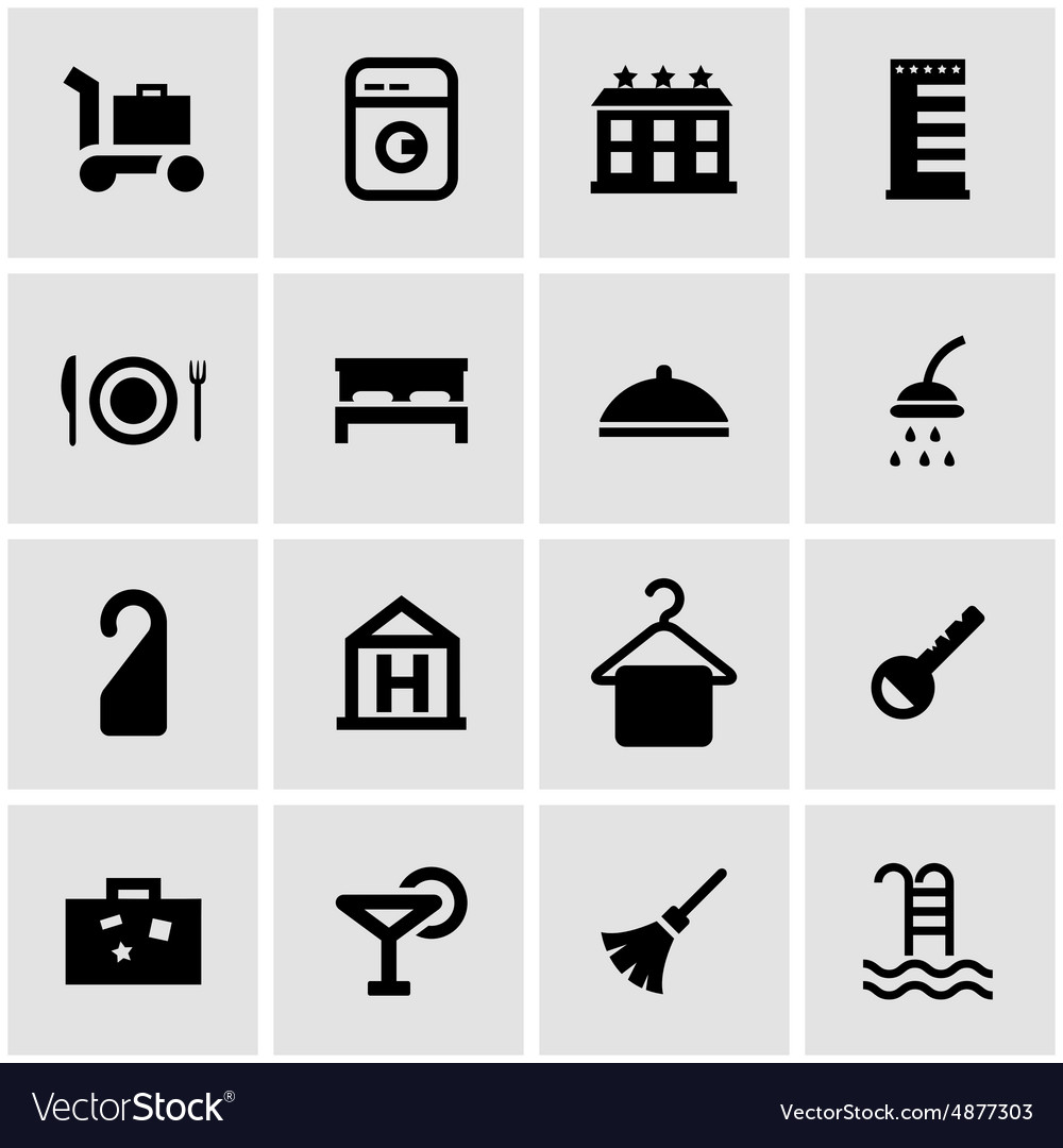 Black hotel icon set