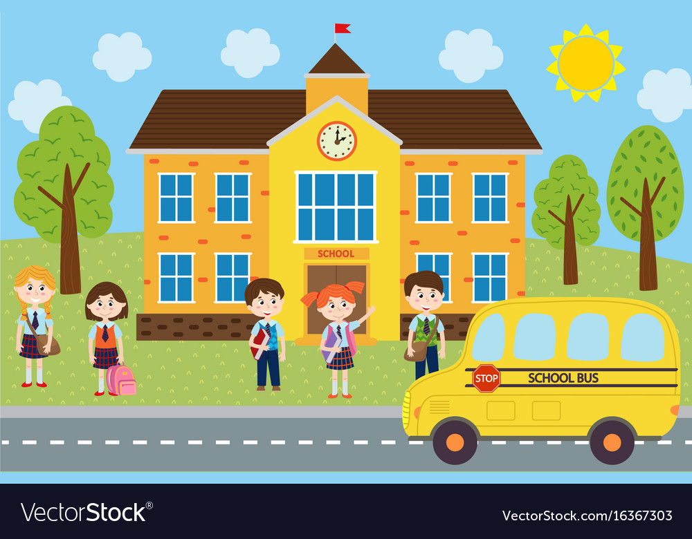 Children near the school are waiting the bus vector image