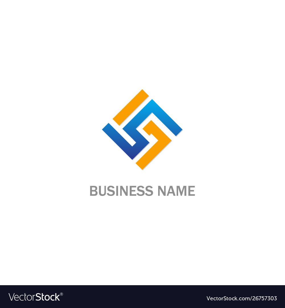 Circle line abstract square company logo