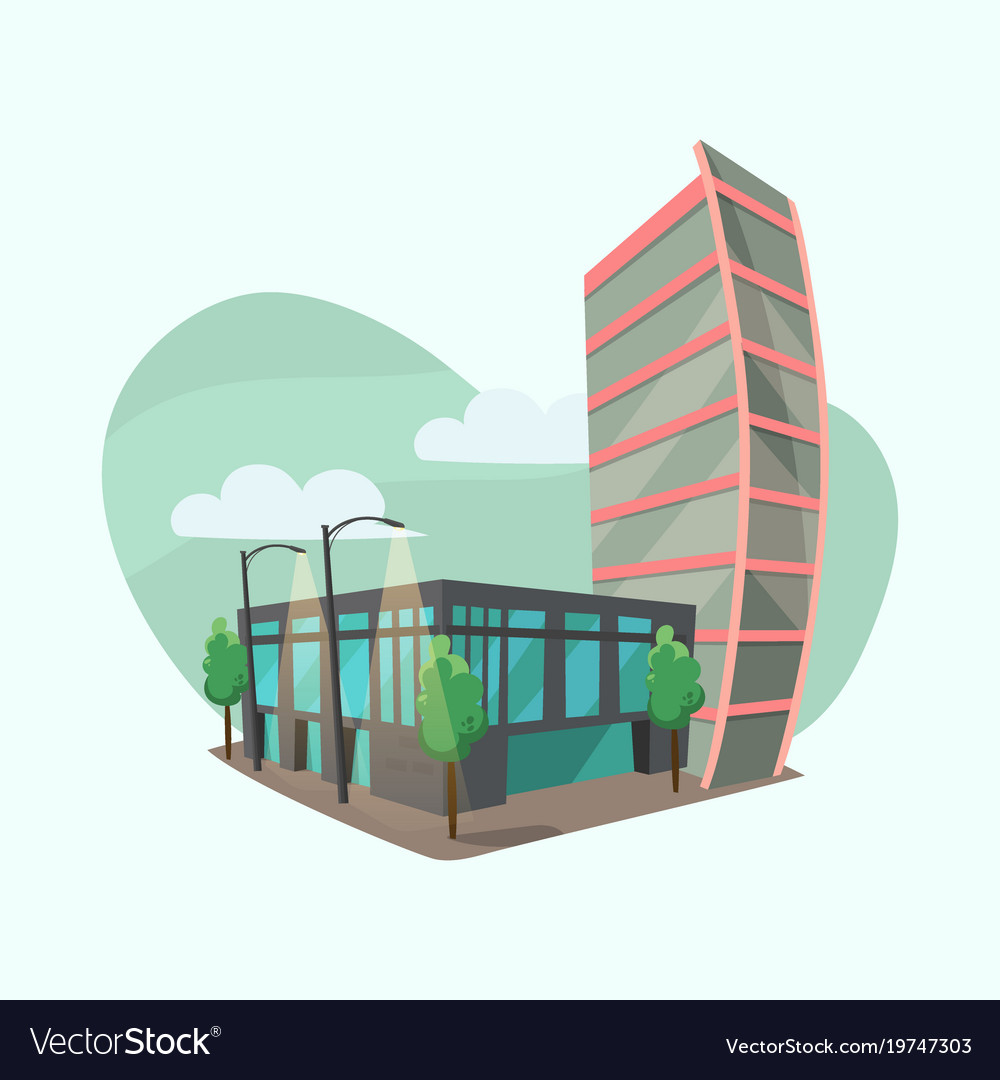 Cityscape With Modern Office Buildings Royalty Free Vector