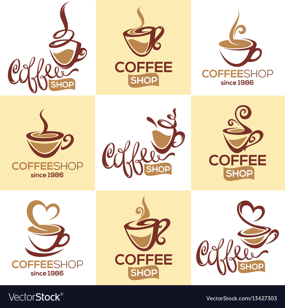 Coffee shop collection of logo template with