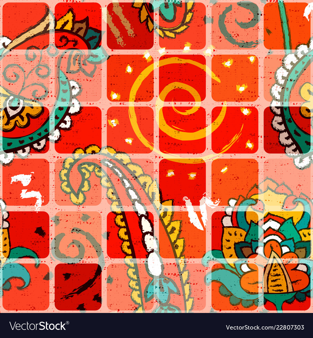 Colorful seamless pattern with ornament and