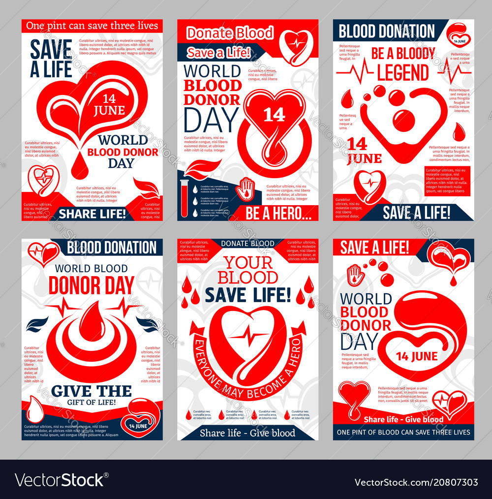 b14911ee4 Donate blood poster for world donor day design Vector Image