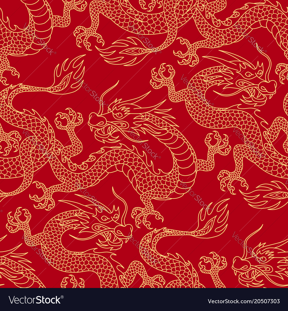 Dragons on red vector image