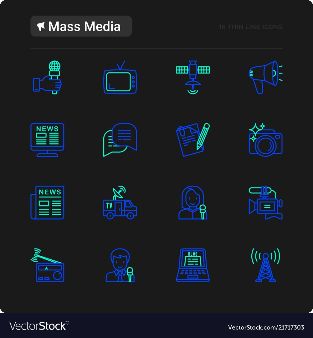 Mass media thin line icons set