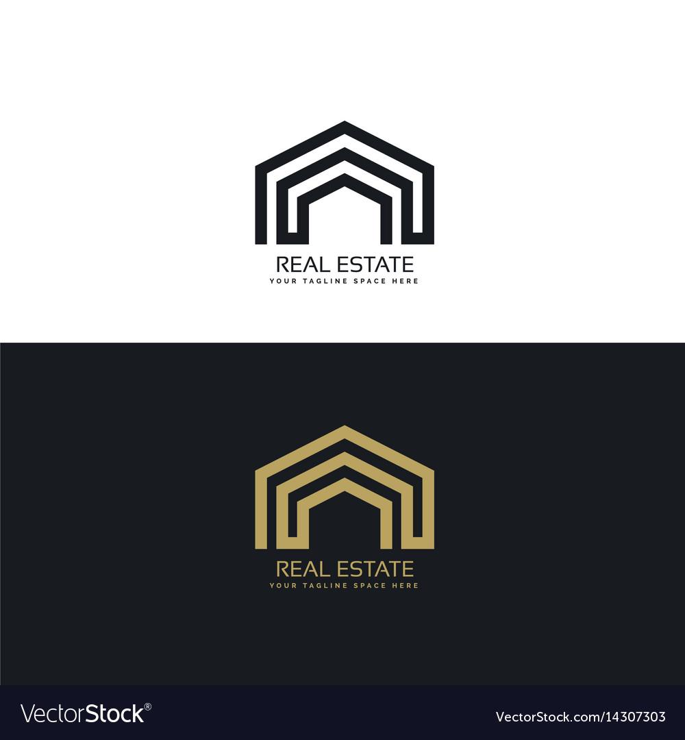 Minimal line real estate logo design concept vector image