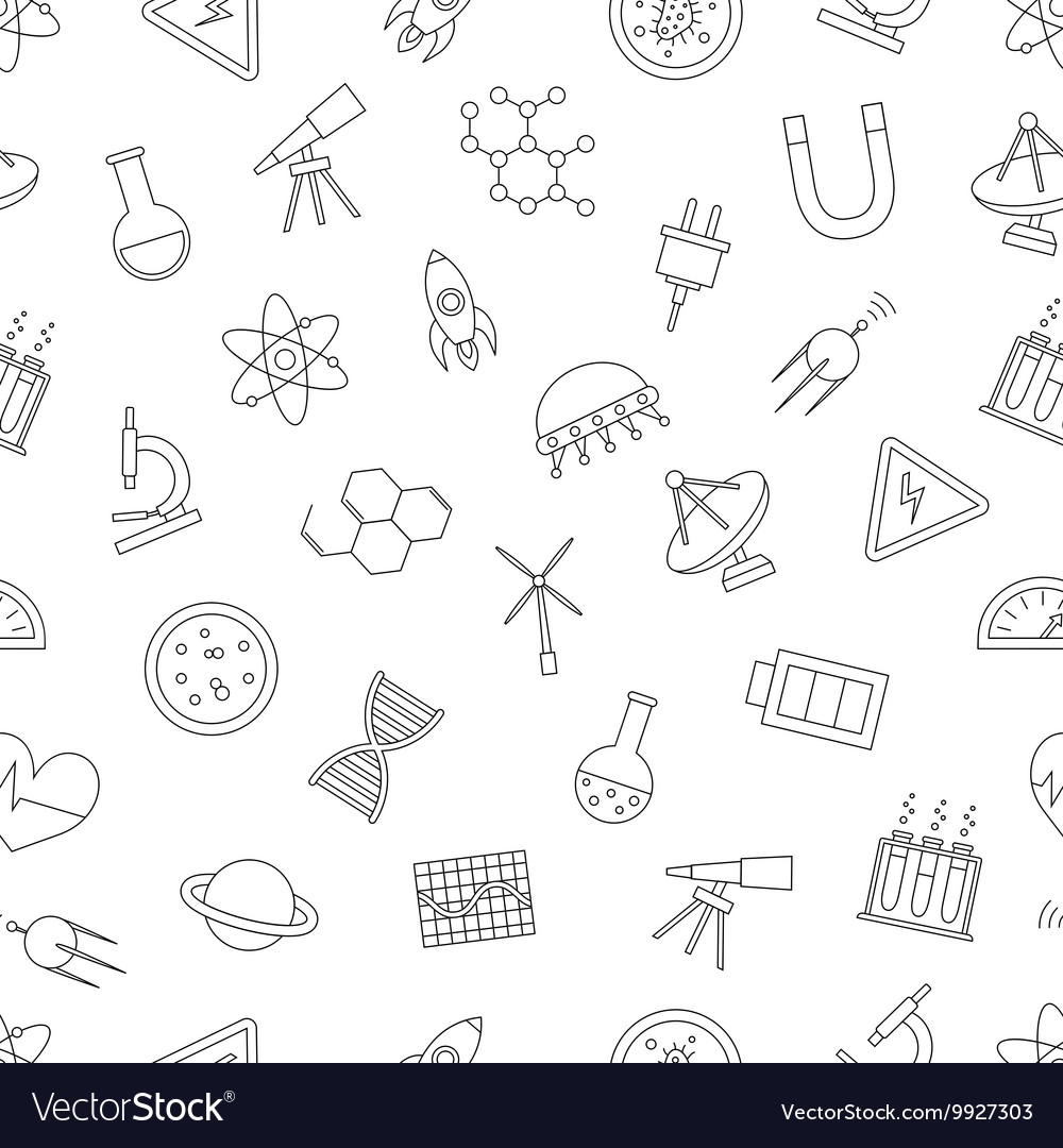 Science pattern black icons