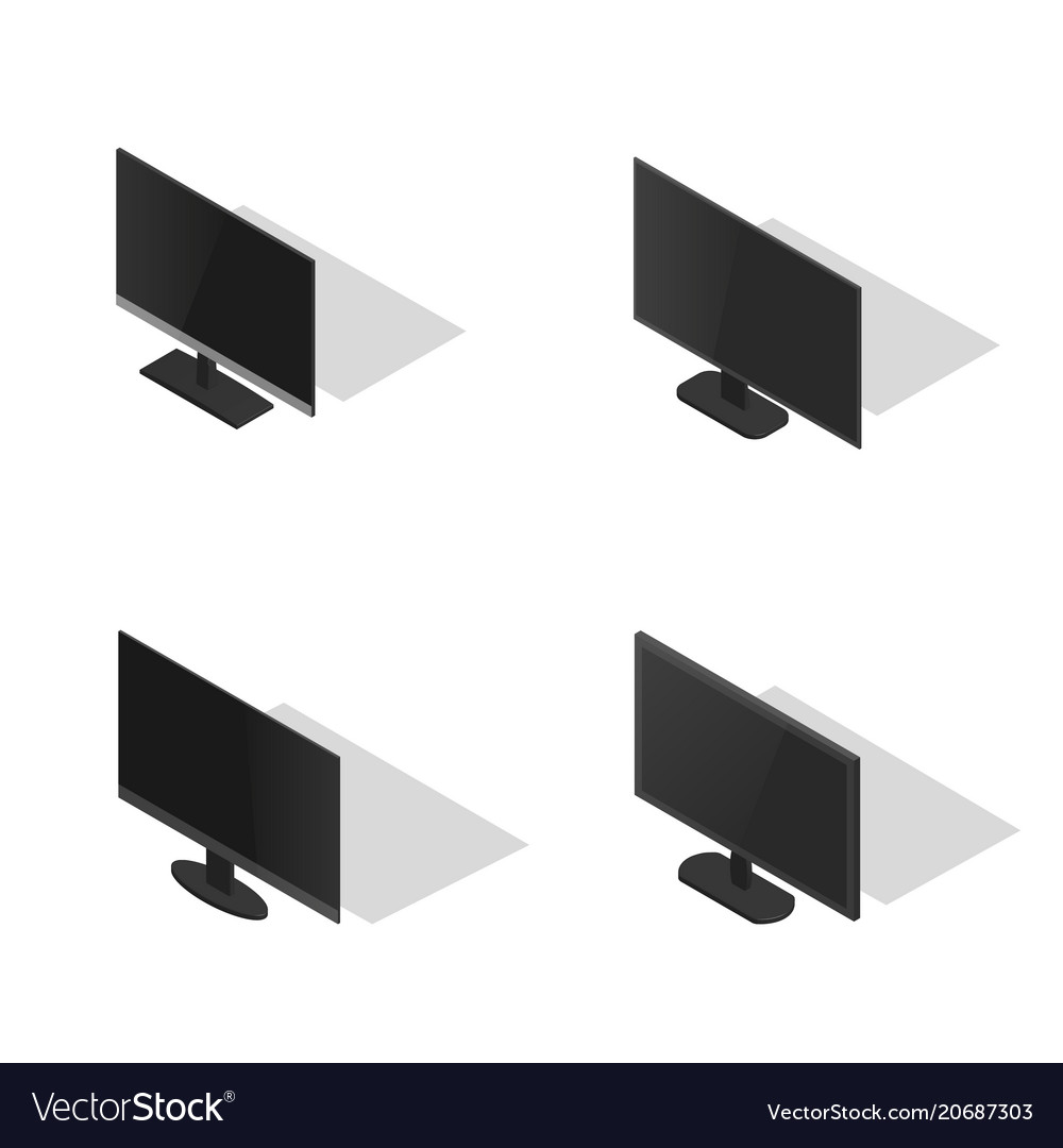 Set of flat monitors in 3d
