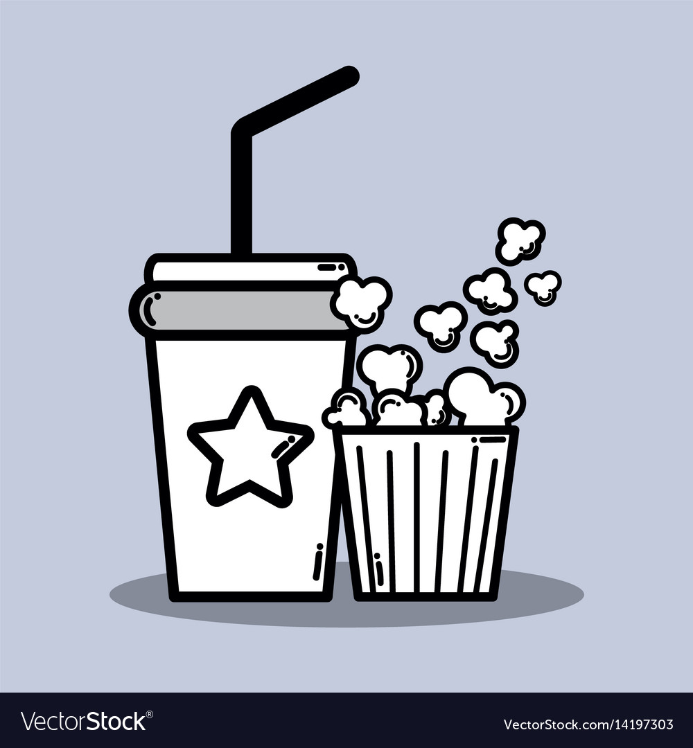 Soda beverage and popcorn in the cinema movie vector image