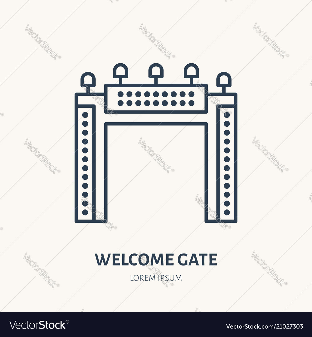 Welcome gate flat line icon outdoor advertising