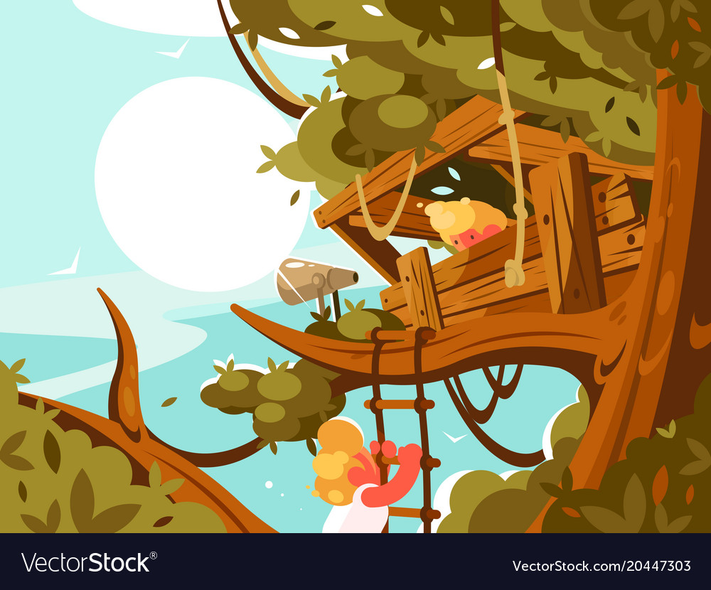 Wooden house on green tree vector image