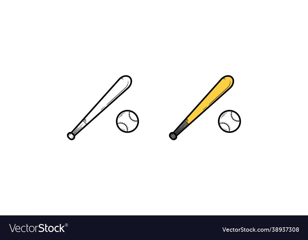 Baseball hand drawn sketch and color