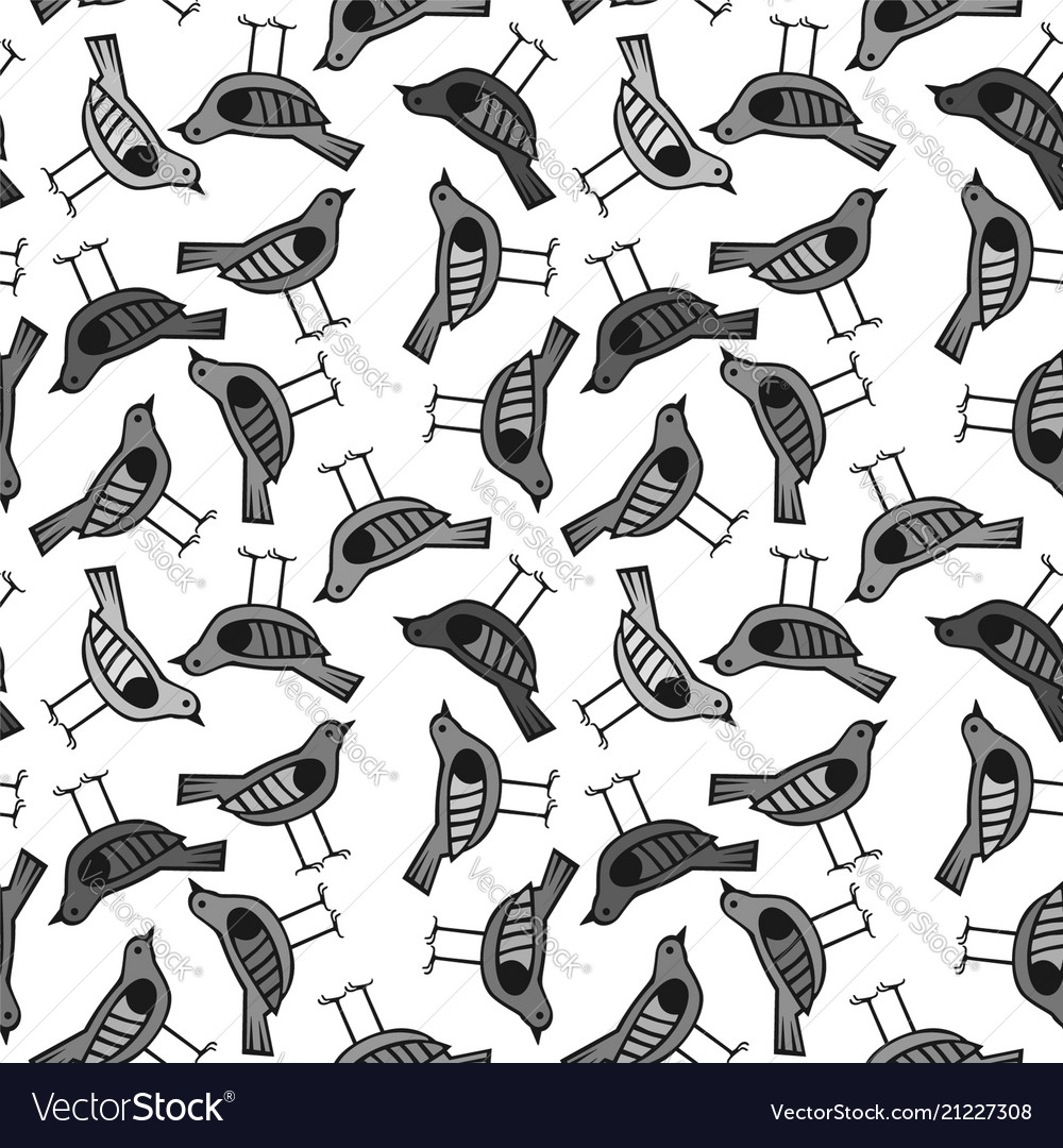 Bird hand drawn pattern background with dark color