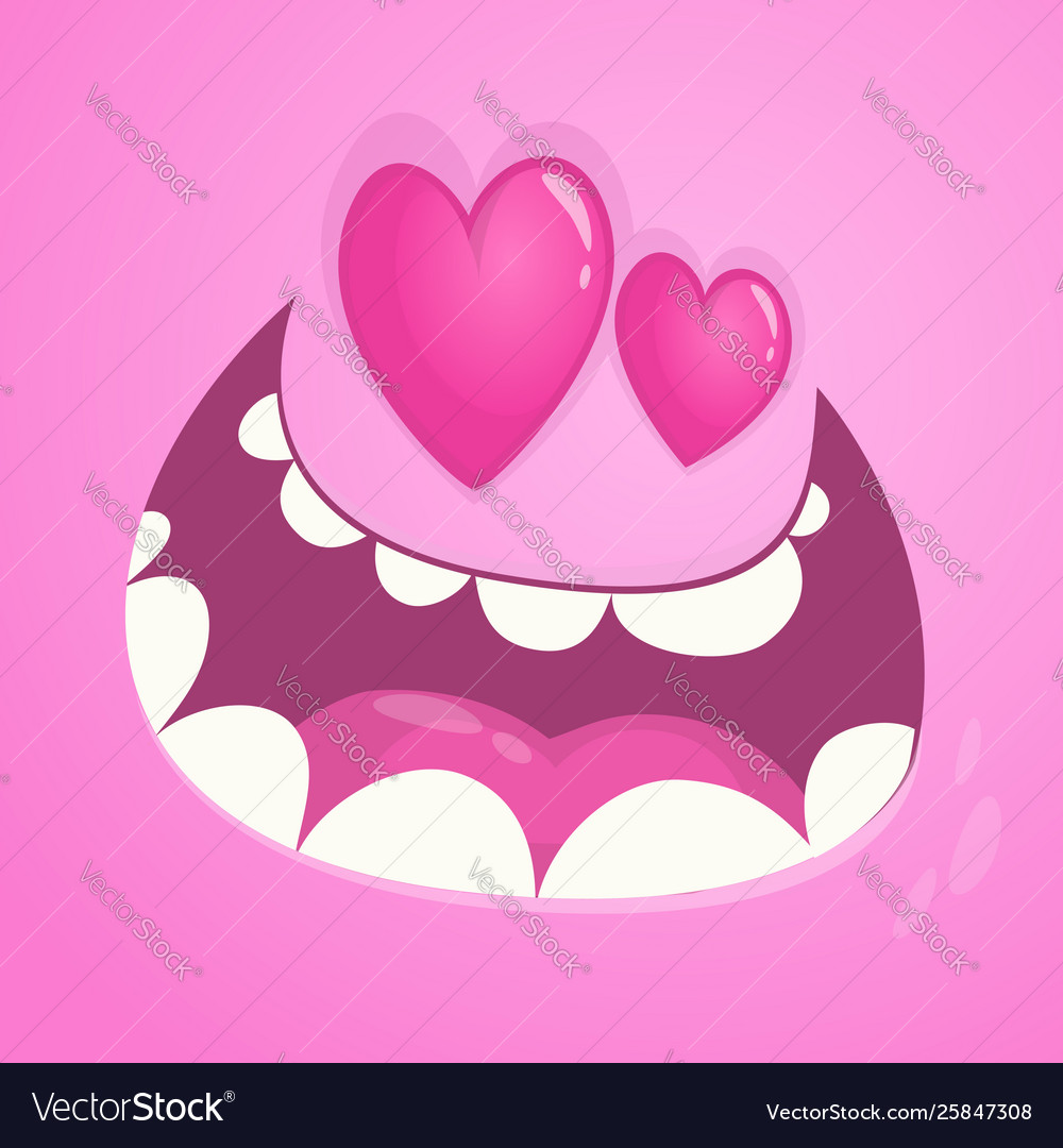 Cartoon monster face avatar in love
