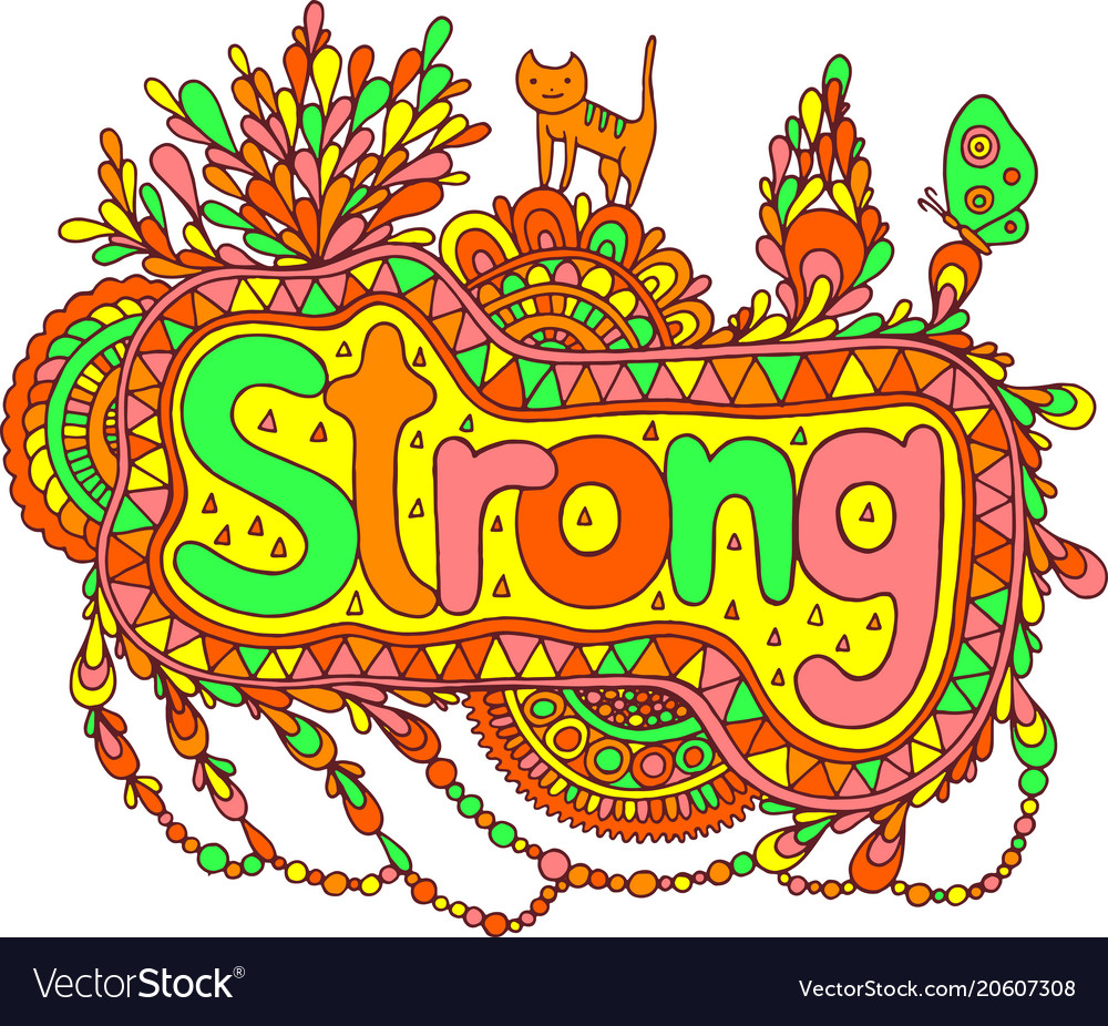 Graphic art with mandala and strong word doodle