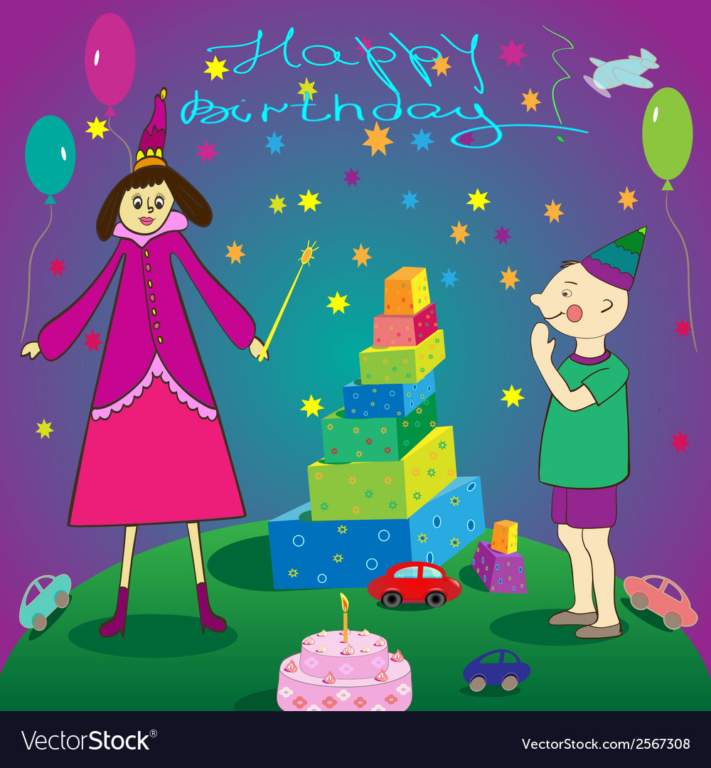 Happy Birthday Gifts Boy Cake And Fairy Vector Image