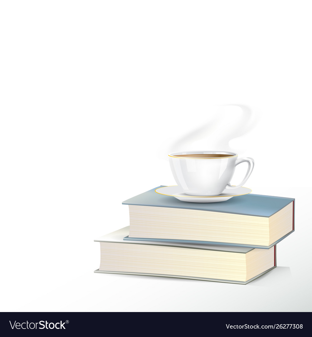 Hot tea cup with books on white background