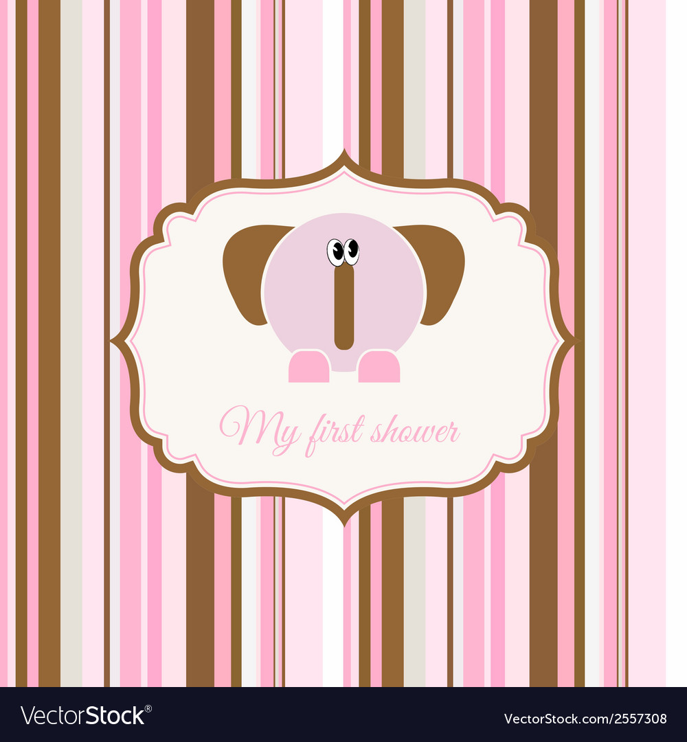 romantic baby girl announcement card royalty free vector
