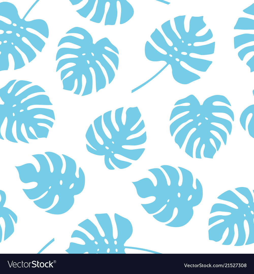 Seamless pattern of blue monstera leaves tropical