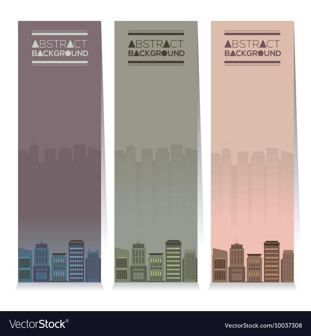 Set Of Three Buildings Vertical Banners