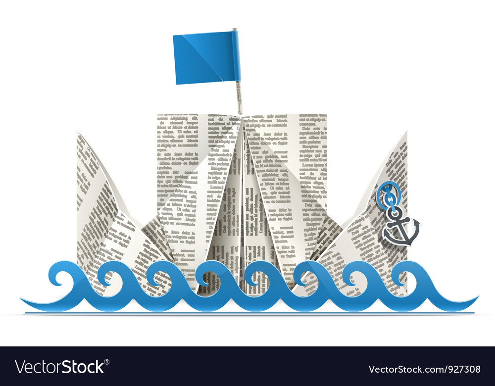 Ship with flag paper origami