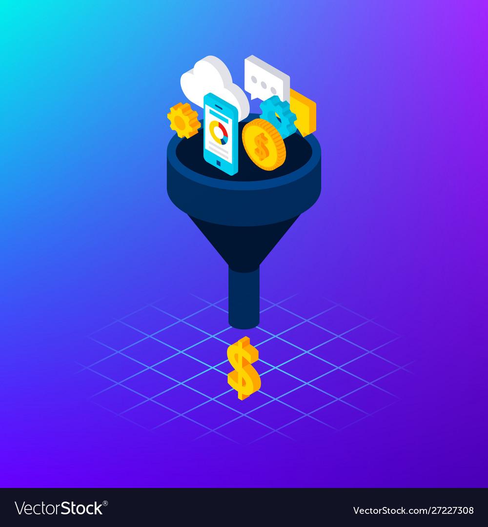 Social media funnel money concept