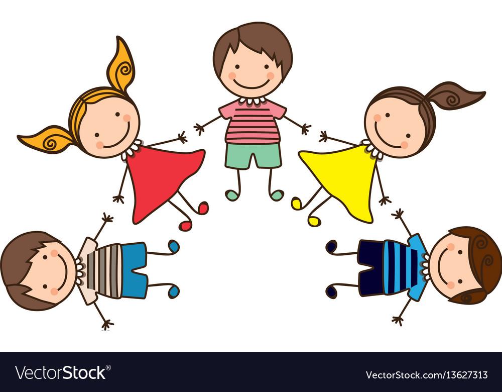 Colorful happy set cartoon children holding hands