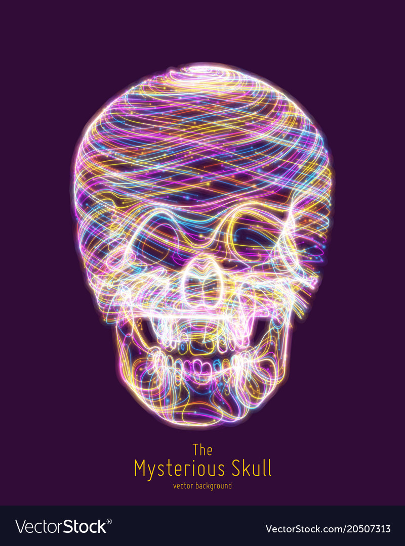 Colorful skull constructed with bright