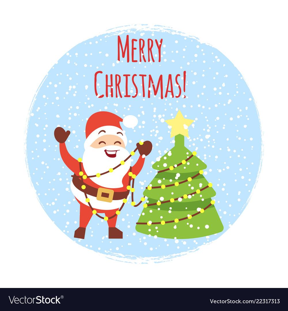 Cute cartoon santa with christmas tree and