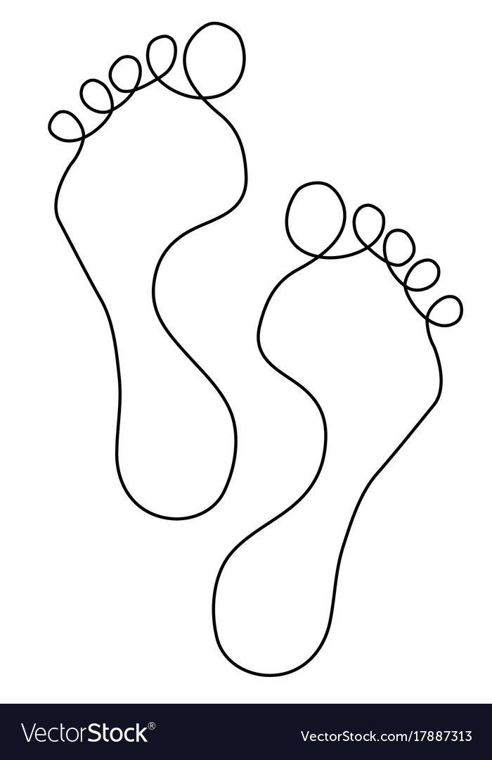 Feet one line drawing vector image